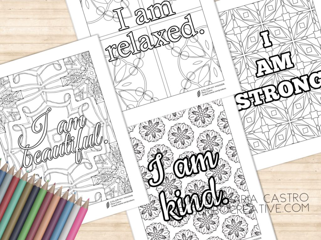 Color My Moods Affirmations Coloring Pages